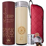The Love Bamboo Tea Tumbler Thermos with Strainer and Infuser + Sleeve | NEW Leak-proof Lid. 511ml/18oz for Loose Leaf Tea, Coffee & Fruit Water Flask | Vacuum Insulated Travel Bottle. BPA Free