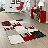 Pergamon Tango - Tapis de Designer - Carreaux Rouge Gris - 5 Tailles