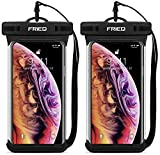 Waterproof Case Cellphone Dry Bag Pouch for iPhone Xs Max XR XS X 8 7 6S Plus, Samsung Galaxy S10 S10e S9 S8 +/Note 9 8, Pixel 3 2 XL HTC LG Sony Moto up to 6.5' - Designed by FRiEQ (2 Pack)