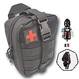 Trousse de Secours Noire Tactique Kit Complet,Compact 103 pcs Assemble en France Se Fixe à la...