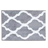 Pauwer Microfiber Bathroom Rugs Geometric, Non Slip Bath Rugs Floor Mat Machine Washable (18'x26', Grey)