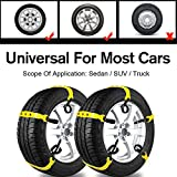 Car Snow Chains Snow Tire Chains for Anti-Slip Car Chains Car Emergency Chains All Season Anti-Skid Snow Cables Car SUV Tire Cables (Yellow, for Tire Width: 185-295mm/7-11'')
