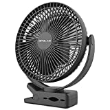 Clip on Fan, OPOLAR 10000mAh 8-Inch Rechargeable Battery Operated Golf Cart Fan, 4 Speeds Fast Air Circulating USB Fan, Sturdy Clamp Portable for Outdoor Camping Tent Beach or Treadmill Car Personal Desk