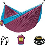 Comfortable: Whether you're relaxing by the fire or sleeping under the stars, our camping hammock has everything you need to stay comfy and covered throughout the night. Compact: Lightweight and convenient, our travel hammock weighs only 24oz and fol...