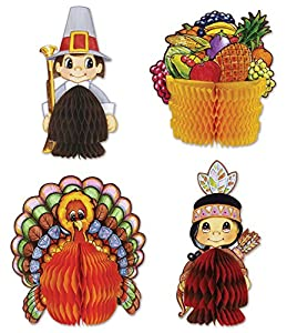 Includes 4 mini centerpieces in package Measures from 4 inches to 5 inches Made of board stock paper and tissue paper Put on tables to decorate for the fall and Thanksgiving!