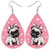 NEWEI Acrylic Teardrop Headband Pug Puppy Dog Earrings Dangle Drop Fashion Pet Jewelry For Women Girl Charm Gift