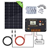 ECO-WORTHY 120W 12V Solar Panel Kit: 120W Mono Solar Panel & 20A Solar Charge Controller & 5m Solar Cable & Z Style Mounting Brackets for RV Boat Motorhome Caravan Camper