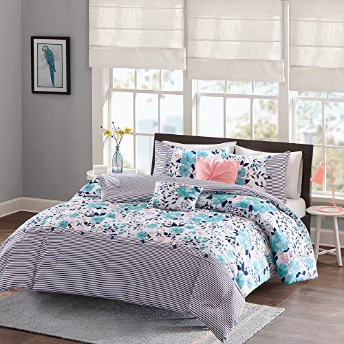 Intelligent Design Delle Comforter Set Full/Queen Size - Blue , Floral Stripes – 5 Piece Bed Sets – Ultra Soft Microfiber Teen Bedding For Girls Bedroom