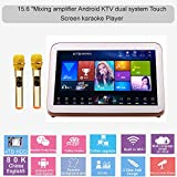 HAJURIZ 15.6''Touch Screen Karaoke Player,4TB HDD,80K Chinese,English Songs,300W Mixing Amplifier Built,Wireless Microphone,Android Dual System,240K Multi-Language On Cloud,Free Download,Youtube
