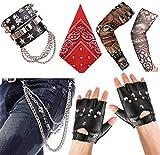 Aperil Punk Gothique Rocker Kit Années 70 Années 80 Années 90 Accessoires de Costume avec...