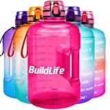 BuildLife Gallon Motivational Water Bottle Wide Mouth with Time Marker/Flip Top Leakproof Lid/One...