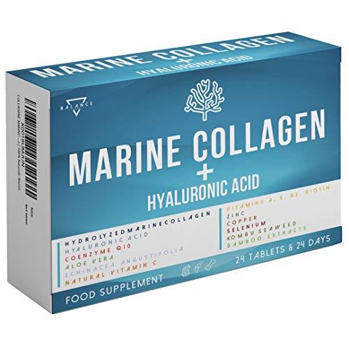 COLLAGENE MARINO CON ACIDO IALURONICO | Collagene Idrolizzato per Pelle Articolazioni e Ossa | 15 Ingredienti Attivi tra cui: Coenzima Q10, Biotina, Vitamina C A E B2, Aloe Vera, Zinco | 100% Naturale