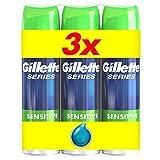 Gillette gel à raser Series   peaux sensibles 200ml - Lot de 3