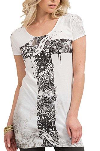 trueprodigy Casual Mujer Marca Camiseta con impresión Estampada Ropa Retro Vintage Rock Vestir Moda Cuello Redondo Manga Corta Slim fit Designer Fashion t-Shirt, Colores:Darkgrey, Tamaño:XS