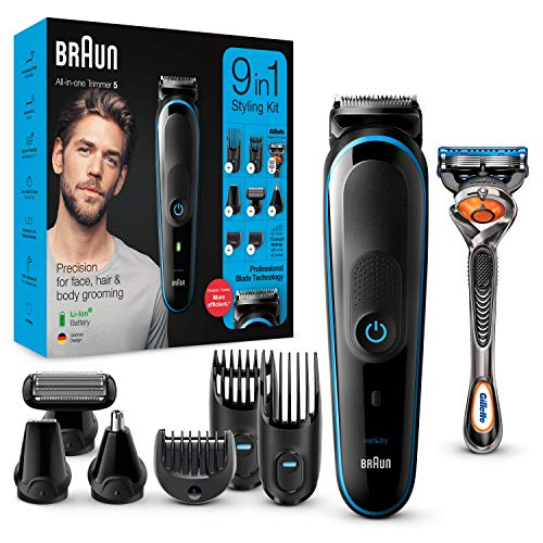 Braun MGK5280 9-in-1 Men's Beard Trimmer, Body Hair Removal Set and Hair Clipper, Black / Blue