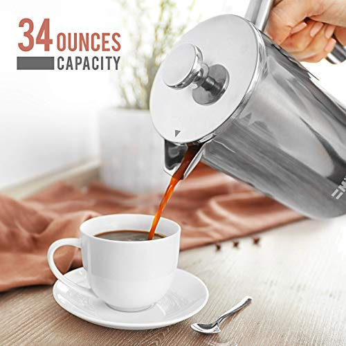 Mueller French Press Double Insulated 310 Stainless Steel Coffee Maker 4 Level Filtration System, No Coffee Grounds, Rust-Free, Dishwasher Safe 10