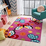 Well Woven Modern Rug Daisy Butterflies Pink 3'3'' x 5' Accent Area Rug Entry Way Bright Kids Room Kitchn Bedroom Carpet Bathroom Soft Durable Area Rug