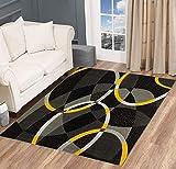 "Swirls Circles Modern Abstract Area Rug Yellow Gray Black Carpet (5' 3"" X 7' 5"")"