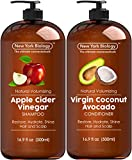 Apple Cider Vinegar Shampoo and Coconut Avocado Oil Conditioner Set - Helps Restore Shine, Hair Gloss and Hydration for Dry Hair and Itchy Scalp  Clarifying and Nourishing  16.9 fl Oz