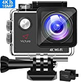 【3-6 Days Delivery】Victure AC600 4K 16MP Action Camera 30M Underwater Recording Camera with 170 Wide Angle Lens WiFi Sports Video Camera with 2 1050mAh Rechargeable Batteries and Mounting Accessories