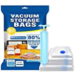 BZ Vacuum Bags. Vacuum Seal Bags for closet More Storage! Hand-Pump for Travel! Double-Zip Seal and Triple Seal Turbo-Valve for Max Space Saving! (Jumbo 7 Pack)