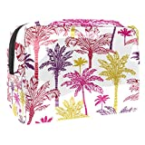 Bolsa de maquillaje portátil con cremallera bolsa de aseo de viaje para mujeres práctico almacenamiento cosmético bolsa palmeras