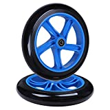 AOWISH 2-Pack 200mm Adult Teen Kick Scooter Wheels 200 mm (8'') Razor A5 Lux Kick Scooter Replacement Wheel with ABEC-11 Bearings for Commuter City Street Push Kick Scooters (Blue Hub Black Wheel)