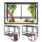 REPTI ZOO 67 Gallon Reptile Large Glass Terrarium 2 in 1 Side Meshes and Side Glasses Double Hinge Door with Screen Ventilation Reptile Terrarium 36' x 18' x 24'(Knock-Down)