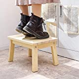 HOUCHICS Solid Pine Step Stool Wooden Kids Potty Training Stool with 220lb Load Capacity Foot Stool for Kitchen,Bedroom,Living Room,Bathroom(No Paint)