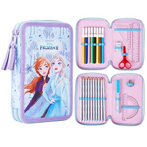 Disney Frozen Astuccio Scuola, Astuccio Grande Capacit 2 Scomparti Completo Di Cancelleria Frozen 2