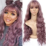 HUA MIAN LI Long Wavy Wig With Air Bangs Silky Full Heat Resistant Synthetic Wig for Women - Natural...