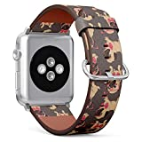 Compatible with Apple Watch Series 5, 4, 3, 2, 1 (Big Version 42/44 mm) Leather Wristband Bracelet Replacement Accessory Band + Adapters - Cartoon Pug Puppy