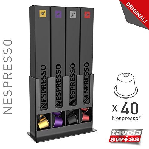 Tavola Swiss 5048873 Capstore Box per 40 Capsule Nespresso Caffè, Nero
