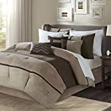 Madison Park Palisades Queen Size Bed Comforter Set Bed In A Bag - Brown, Taupe , Pieced Stripe – 7 Pieces Bedding Sets – Micro Suede Bedroom Comforters