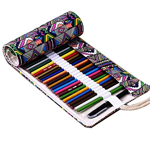 Tinksky Tela colorata matita matita caso 72 Roll Wrap per Set di matite colorate (72 slot matita...