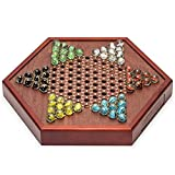 Chinese Checkers Square Wooden Game Set Drawers and 60 Colored Marbles, 16mm