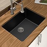Winpro New Black Granite Quartz 25' x 18-1/2' x 9-1/2' Single Bowl Undermount Sink