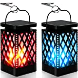 Solar Lanterns-Sunklly Hanging solar lights color changing & fixed 9 Modes Waterproof Hanging Lanterns Outdoor Lights Flickering Flame Camping Lanterns Decoration for Tent Garden Patio Pathway(2 PACK)