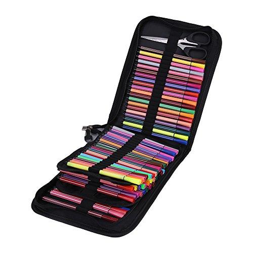 Astuccio in tela per penne, pennarelli e matite colorate, con 120 supporti elastici, grande capacit,...