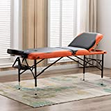 Artechworks 28' Wide Professional 3 Folding Portable Massage Table Facial Salon Spa Tattoo Bed With Aluminium Leg(2.56' Thick Cushion of Foam) for Home Office Living Room, Black and Orange