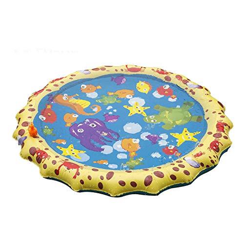 LEPOWERP Sprinkle & Splash Play Mat, 39' Sprinkler for Kids Outdoor Water Toys Fun for Boys Girls Children Outdoor Party Sprinkler Toy Splash Pad