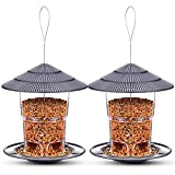 Bird Feeders Hanging, 2 Pack, eWonLife Wild Birds Feeder Squirrel Proof for Outside, Easy Clean and Fill, Adjustable Feeder with Sturdy Wire and Roof, for Garden, Backyard, Terrace(25 Ounce/Pack)