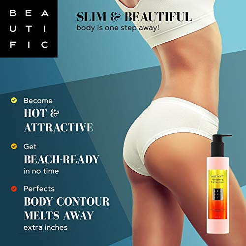 BEAUTIFIC Anti Cellulite Cream | Hot Cream | Workout and Sweat Enhancer | Excess Fluid Drainage Slimming Body Lotion and Cellulite Remover Lotion for Belly, Waist, Arms, Thighs & Butt with Caffeine 6.8 fl oz 8