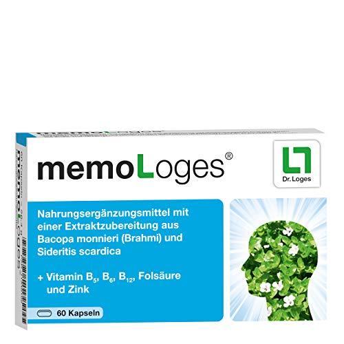 memoLoges® Monatspackung - Fördert die Konzentration und Gedächtnisleistung - Nahrungsergänzung mit patentierten Pflanzen-Extrakten für ein besseres Erinnerungsvermögen im Alter - 60 Kapseln