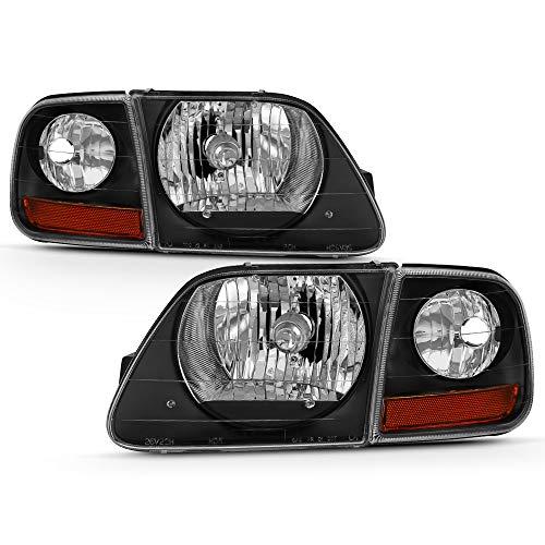 [SVT Lightning Style] VIPMOTOZ Black Housing OE-Style Headlight & Side Marker Corner Lamp Assembly For 1997-2003 Ford F-150 Pickup Truck, Driver & Passenger Side