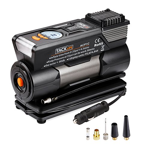 TACKLIFE ACP1C Portable Tire Inflator, DC 12V 150PSI Air Compressor Pump, Digital Tire Inflator with Gauge, LED Flashlight, 4 Nozzle Adaptors and Extra Fuse(150 PSI)