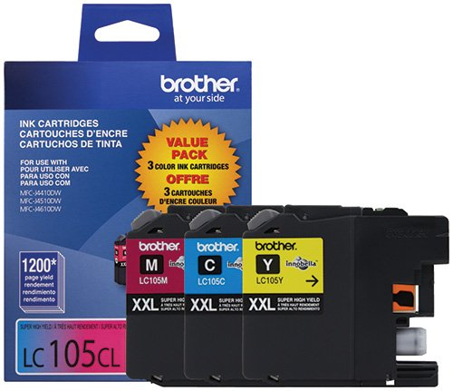 Brother Genuine LC1053PKS Super High Yield XXL Ink Cartridges,Cyan, magenta, yellow
