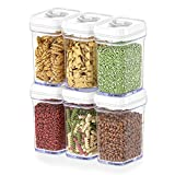 DWËLLZA KITCHEN Airtight Food Storage Containers with Lids – 6 Piece Set/All Same Size - Medium Air Tight Snacks Pantry & Kitchen Container - Clear Plastic BPA-Free - Keeps Food Fresh & Dry