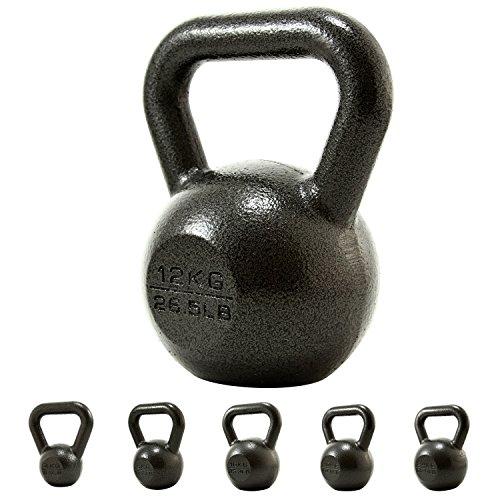 PROIRON Kettlebell Professional Kugelhantel aus Gusseisen, 12kg Gewichten Guss Schwunghantel Kugelgewicht Krafttraining - Schwarz Kettlebells