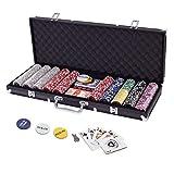 Display4top Juego de póquercon 500 Chips Láser 12 Gramos Núcleo de Metal, 2 Barajas de Cartas, Distribuidor, ciega pequeña, Big Blind Buttons y 5 Dados (500 Chips)